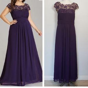 EVER PRETTY purple maxi cap sleeves evening dress